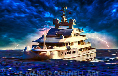 art,painting,airbrush,kogo,superyacht,sunset,storm,lightning,sea,ocean,water,waves,cmn