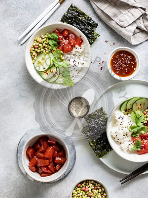 Sauteed watermelon poke bowl