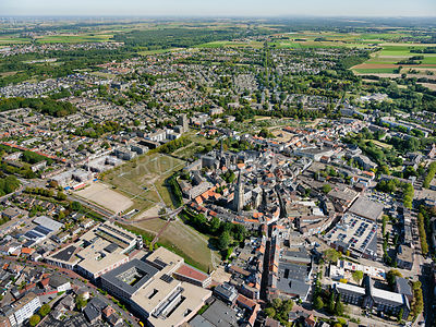 Sittard, the historic centre as seen from Rijksweg Noord with the Sittard firing fields on the left.  | 306216