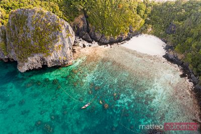 Aerial view of Nui beach with boat, Phi Phi island, Thailand