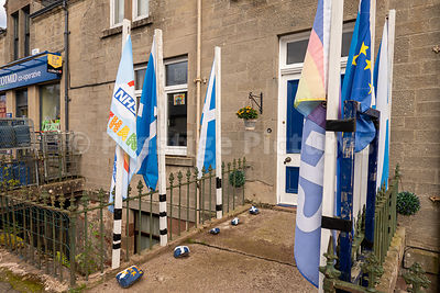 Flags outside house in Scotland celebrating the NHS in Scotland