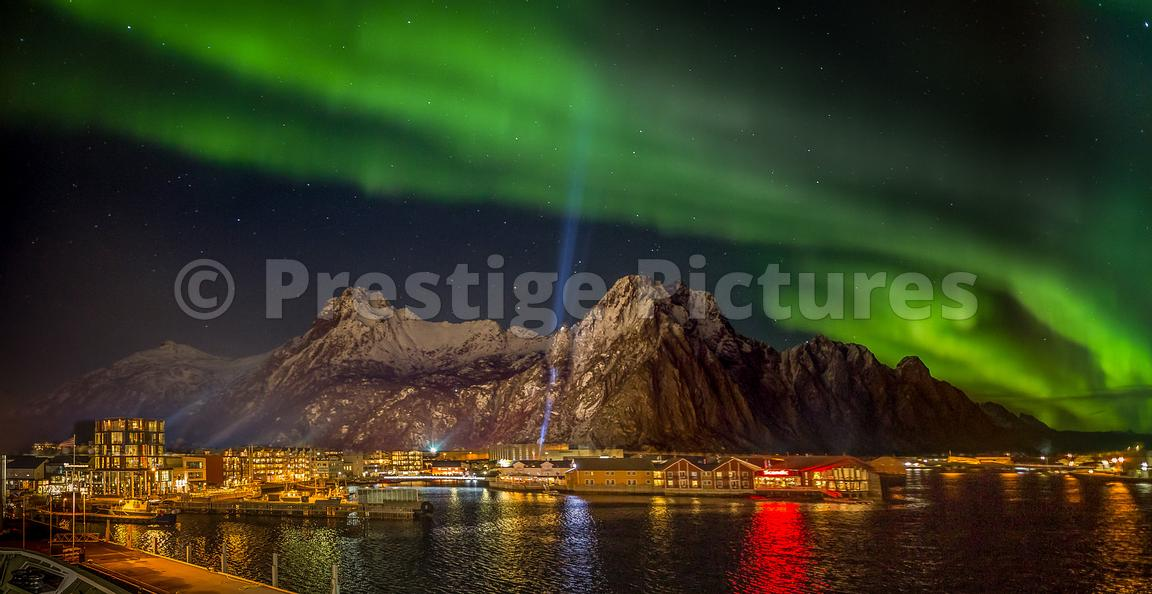 Dramatic Northern Lights show over Svolvær in Lofoten, Norway