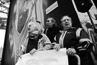 Naming ceremony of the square dedicated to Woman Partisans of the Italian resistance movement. From left, Aldo Giassi (Oltrep...