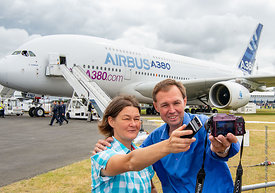120886  Visitors taking a selfie with the Airbus A380, Farnborough Air Show, 2016.