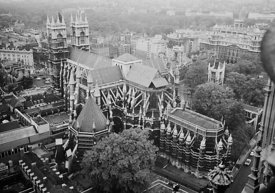 #124533,  View of Westminster Abbey from the Victoria Tower at the Houses of Parliament, 1973.