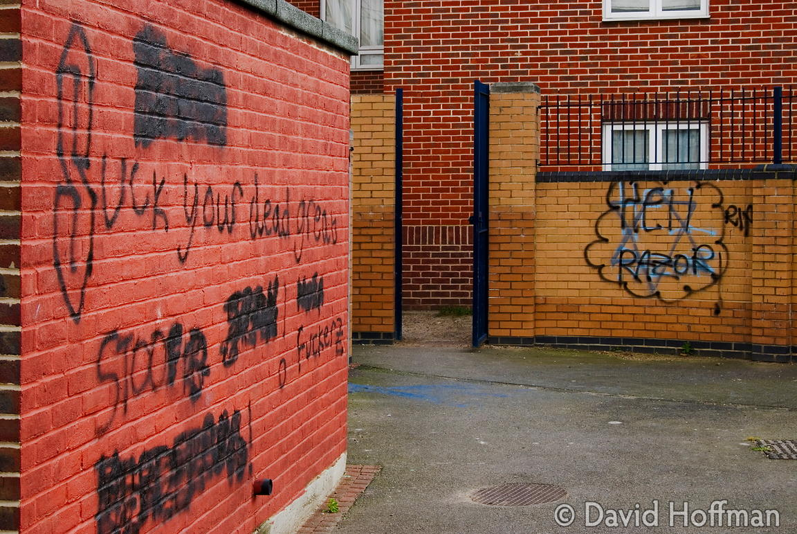 Graffiti on the estate in Leytonstone where black teenager Paul Erhahon was murdered.
