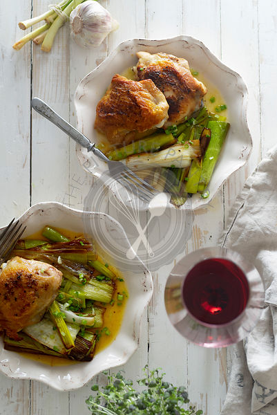 Roasted skin-on chicken thighs with leek