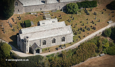 Boconnoc Parish Church  Lostwithiel Cornwall aerial photograph