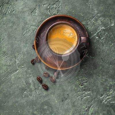 Cup of coffee on rustic background