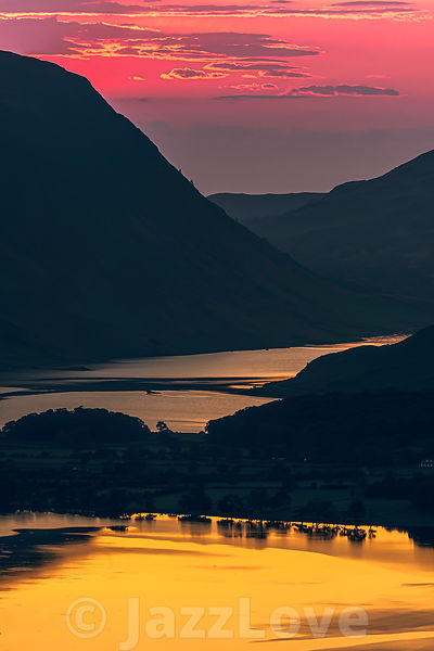 Dusk over mountain valley in Lake District.