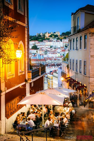 People dining out, Bairro Alto, Lisbon, Portugal