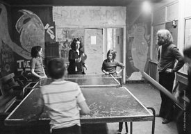 #75039  John Sugden, long hair and beard. Table tennis, Liverpool Free School, Liverpool  1971.  Also known as the Scotland R...