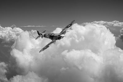 Spitfire above clouds BW version
