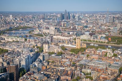 Aerial view of Palace of Westminster, Westminster Abbey, Victoria, and Southbank, London.