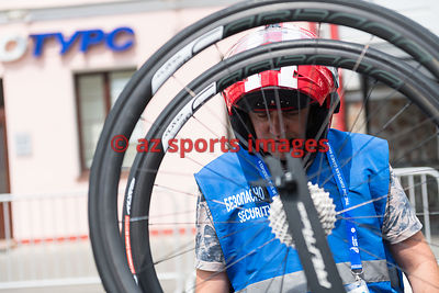 MINSK, BELARUS - JUNE 22, 2019 - Road Cycling - Women's Road Race event of the 2nd European Games at Minsk City Centre - Phot...