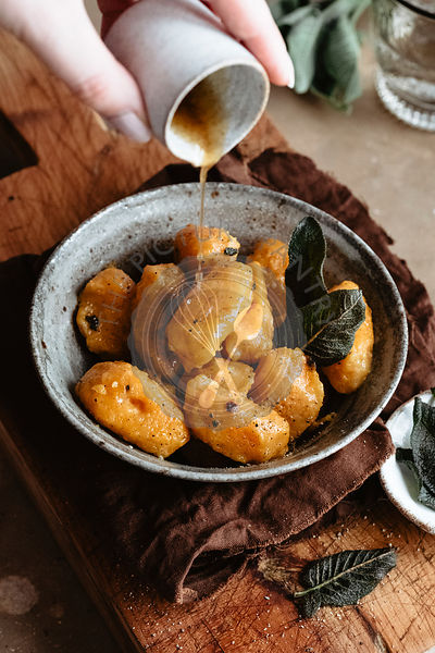 Healthy pumpkin gnocchi with brown butter and sage