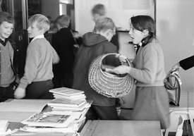 #83614,  Arriving in the classroom, Whitworth Comprehensive School, Whitworth, Lancashire.  1970.  Shot for the book, 'Family...