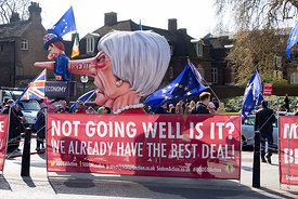 #124668  An effigy of the British Prime Minister, Theresa May MP, created by Brexiteers (in favour of Brexit) who demonstrate...