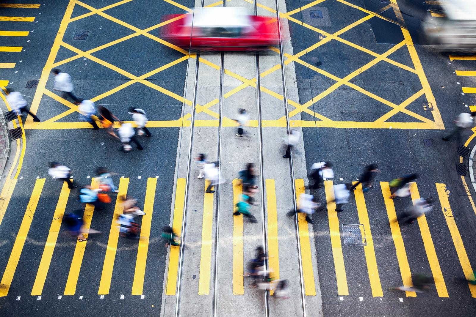 High angle view of street and crossing in Hong Kong
