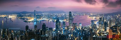 Hong Kong skyline at dawn from the peak, China