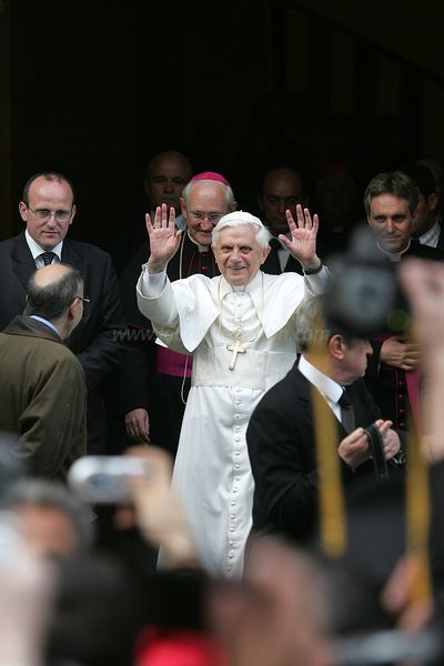 New Pope Benedict XVI waves to the crowd outside his residence in the Vatican on April 21, 2005, Rome