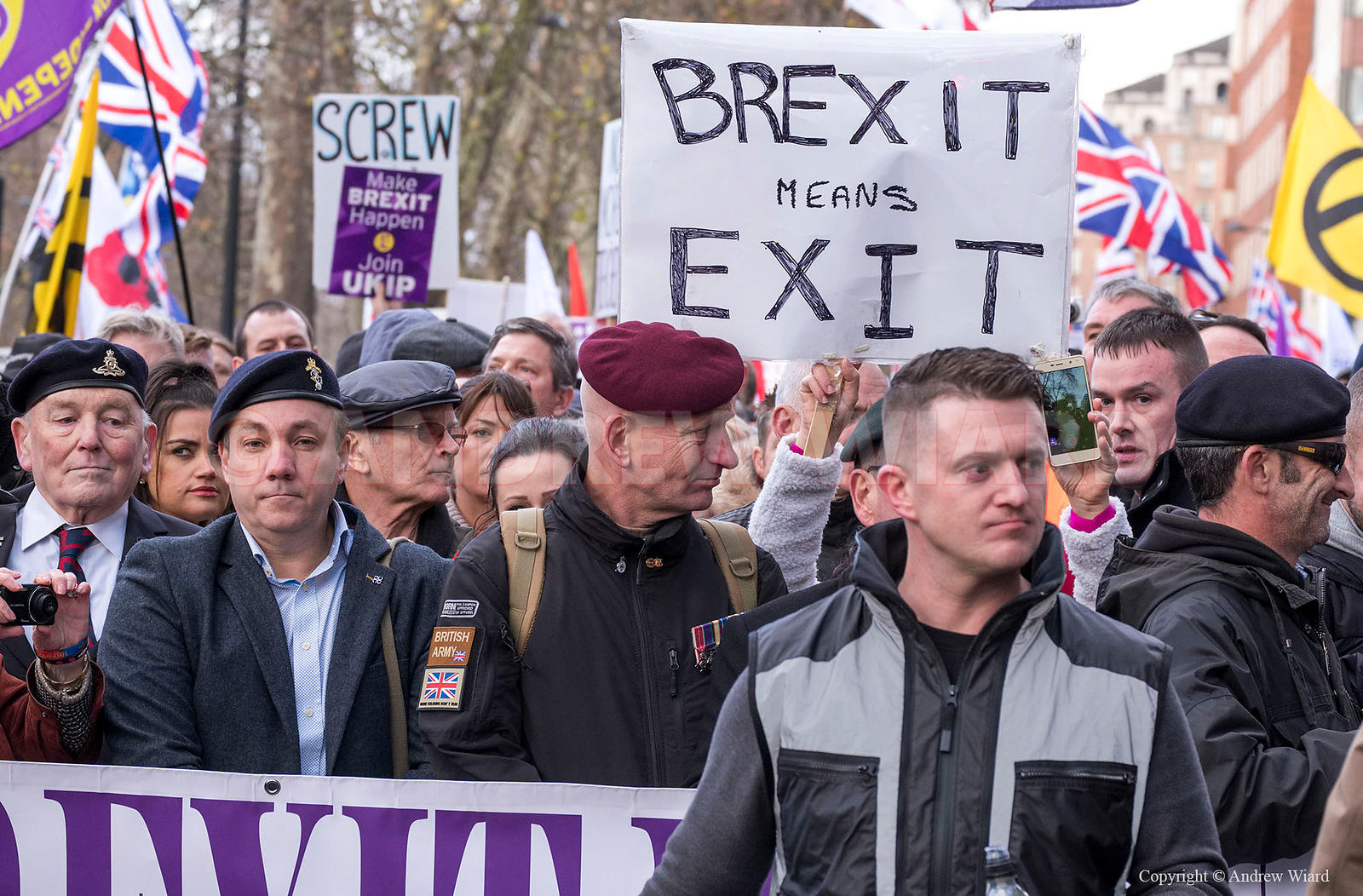 England, UK . 9.12. 2018. London . Tommy Robinson, former leader of the English Defence league, leads UKIP anti-EU Brexit Bet...