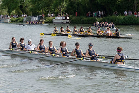#124955,  Trinity College boat.  The 'Summer Eights', a week of rowing races for the Oxford University Colleges on the river ...