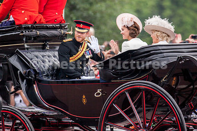 Prince Harry and  Princess Catherine wave to the crowds from an open top carriage
