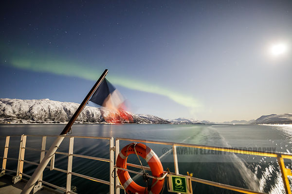 Navigating under the northern lights, Tromso, Norway