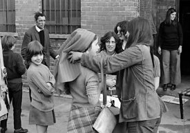 #75018  Having fun outside the building, Liverpool Free School, Liverpool  1971.  Also known as the Scotland Road or Scottie ...