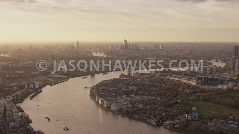 Aerial footage of Millwall, Isle of Dogs, London.