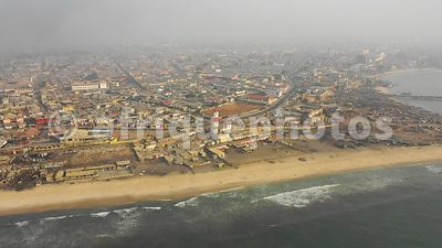Jamestown lighthouse, Accra from above, drone video