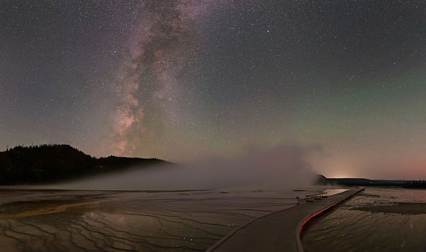 Grand Prismatic Spring and Milky Way
