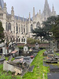 Brussels, Laeken, Belgium, November 30, 2020 - Destroyed or abandoned Graves at Laeken old Cemetery in Brussels, with the bas...