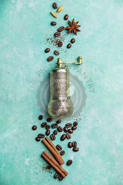 Coffee composition with vintage manual coffee grinder