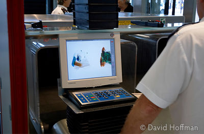 X-ray security scanning of bags at Portcullis House, Westminster.