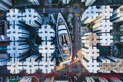 Aerial view of ship among residential buildings, Hong Kong