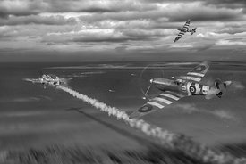 Normandy Spitfire attack B&W version