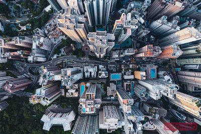 Aerial view of road through high rise buildings, Hong Kong