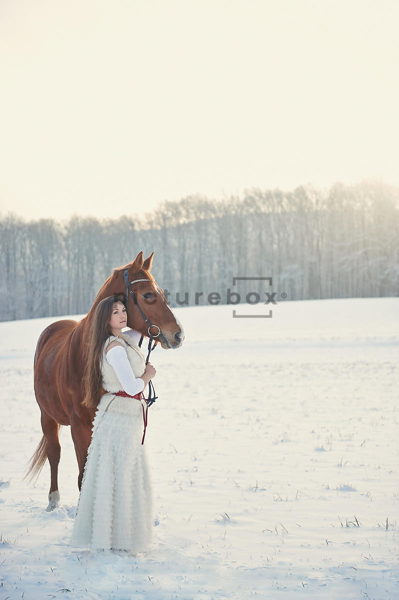 A woman in white, holding the reins to a horse, in the snow.