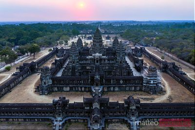 Aerial view of Angkor Wat temple at sunset, Cambodia