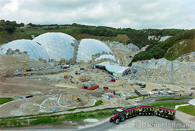 00062303-20  The Eden Project under construction in June 2000. Inside the two biomes are plants that are collected from many ...
