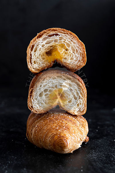 Sliced Brioche Croissants filled with Jam