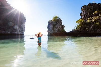 Asian woman relaxing at Hong island, Thailand