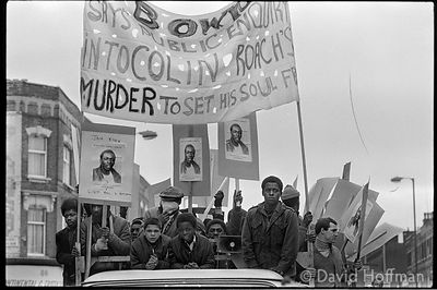 Demonstration following the shooting of Colin Roach inside Stoke Newington Police Station. Hackney 12 Feb 1983.