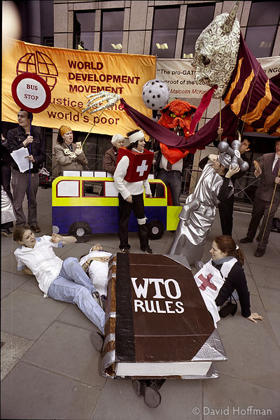 02032201-17 Protest by People & Planet environmental group against the WTO and the proposed GATS international trading agreem...