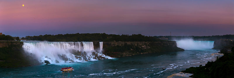 A Panoramic Views Shows the Moonlight over Niagara Falls
