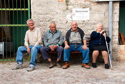 070911-21_Majella_199 Three old men and an old woman from Caporciano di Bominaco, a village in the Italian Majella, relax on ...