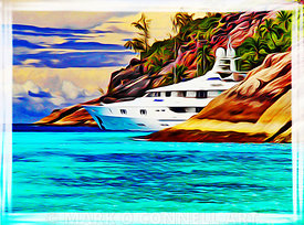 superyacht,mosaique,seychelles,proteksan,art,airbrush,painting,water,rocks
