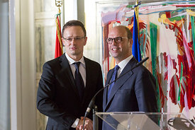 Italian foreign minister Angelino Alfano hosts his Hungarian counterpart Péter Szijjártó at the Farnesina Ministry of Foreign...